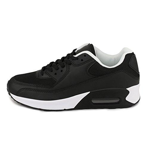 best-boots Unisex Damen Sneaker Fitness Laufschuhe Turnschuhe Runners Neu Schwarz/Weiß 1