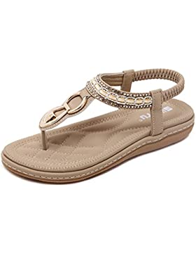 Tomsent Damen Sommer Strandschuhe Böhmische Stil Schuhe Strass Flip Flops Peep Toe Flache Sandalen
