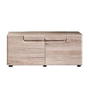 trendteam Garderobe Schuhkommode Sitzbank Malea, 88 x 38 x 37 cm in Eiche San Remo Dekor mit zwei Ablageböden