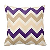 Generic Tan, Eggplant Purple, And Ivory Chevron Pattern Pillow Cover Throw Pillow Case Decor Cushion Covers Square With Invisible Zipper Closure - 18X18 Inches, One-Sided Print