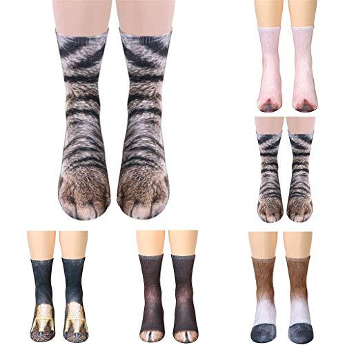 ZYUEER Socken Set Fünf Paare Frauen Mann Erwachsene Unisex Animal Paw Crew Socken Sublimated Print Socks - Crew Print Crew Socks
