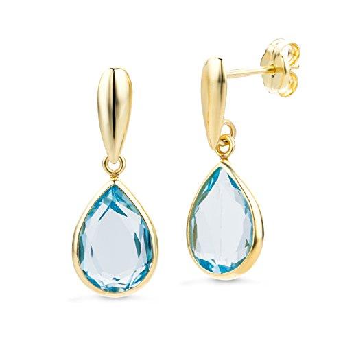 Miore Orecchini Donna  Pendenti Topazio Blu  Oro Giallo 14 Kt / 585