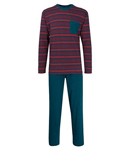 Götzburg Herren Schlafanzug langer Pyjama Klima Aktiv blau-rot-Ringel (622)