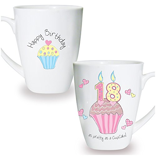 18th Tee (Cupcake Tasse Andenken Neuheit Tasse Geschenk Kaffee Tee 18. Geburtstag)