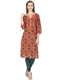 Agroha Women's Cotton Casual Straight Printed Kurti/Kurta (Kurti, Kurta)