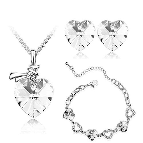 YOLANDE Rhodiniertes Kristallherz Sterling Silber Halskette + Ohrring + Armband Set,White - White Rose Rose Feuchtigkeitscreme