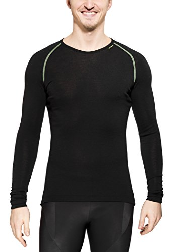 Woolpower Lite Crewneck Long Sleeve Shirt Men - Merino Unterwäsche, schwarz, L -