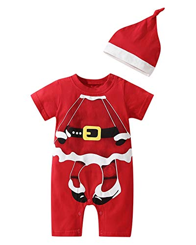 Le SSara Boys Girls Christmas Santa Claus Baby Clothes Romper Jumpsuit with Hat (70, ()