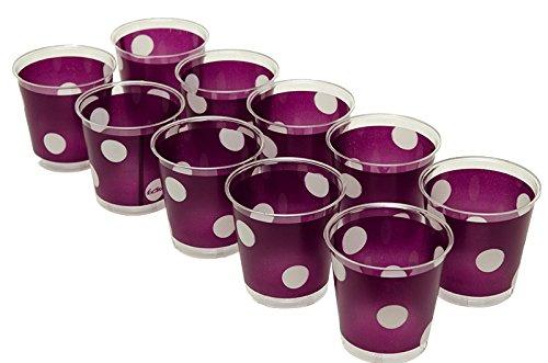 10 Gobelets Cristal prune à pois