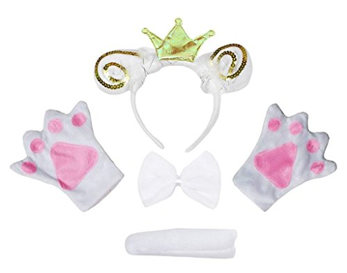 Petitebelle Kronen-Stirnband Bowtie Schwanz Handschuhe 4pc Kostüm Einheitsgröße Weiß Goldenes Schaf Ziege Crown