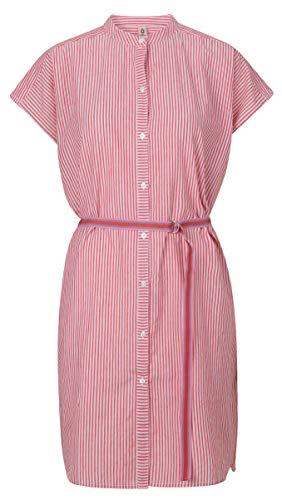 Becksöndergaard Damen Sommerkleid Strandkleid Hemdblusenkleid Casey Stripes Red Love Freizeitkleid mit schmalen Streifen in Rot und Weiß 100% Baumwolle Größe M - 1901813001-690