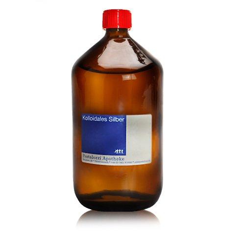 Kolloidales Silber 10ppm, 100% natürliches, kolloidales Silberwasser, ohne chemische Zusatzstoffe aus Apotheken-Herstellung, Inhalt: 1000 ml (1 Licht 20 Essen)
