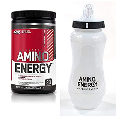 Optimum Nutrition Amino Energy Pre Workout - Strawberry Lime, 30 Servings, 270 & 650ml ON Water Bottle