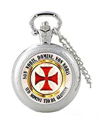 Religion Christian Pretty and Original Pocket Watch Silver Plated Cross and Currency Templar Magnifier with Chain. The Founding Watch.