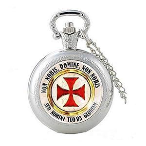 Religion Chréenne Schöne und originelle Taschenuhr, versilbert, Kreuz und Devise Templer Lupe mit Kette Die Armbanduhr.