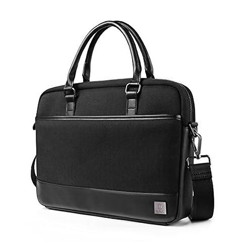 WIWU Slim Notebook Aktentasche mit Schultergurt Multifunktion Schutzhülle Laptop Handtasche für Macbook Air Pro Retina / Dell / Laptops Aktenkoffer (Schwarz, 15 (15 Macbook Pro Mit Retina Display Test)