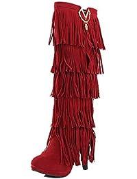 VogueZone009 Donna Alta Altezza Tacco Alto Chiodato Pelle di Mucca Stivali  con Frange 2a5ed403987
