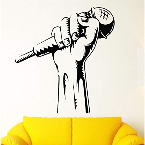 Lbonb Vinyl Wandtattoo Mikrofon Hand Wandaufkleber Karaoke Club Dekoration Rap Schlacht Sänger Wandkunst Wandbild Musik Tapete 57 * 61 Cm