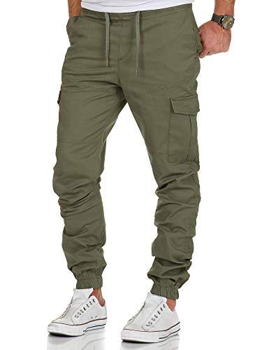 Amaci&Sons Herren Stretch Jogger Cargo Chino Jeans Hose 7006 Olive W32 (Herren Hose Cargo)