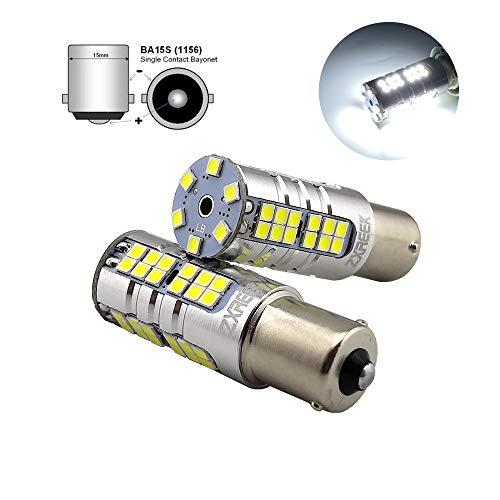 ZXREEK BA15S 1156 P21W S25 1500lm 25 W 54 3030 SMD Lampe de recul ultra lumineuse LED de recul AC 9-30 V 6000 K Xenon Blanc Convient pour 1141 7506 1003 3497 (lot de 2)
