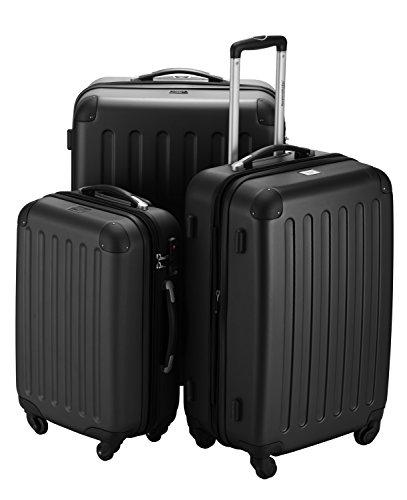 Hauptstadtkoffer® 3er Kofferset Hartschale Trolleys schwarz-matt 45L,80L,125L TSA-Zahlenschloß Modell Spree