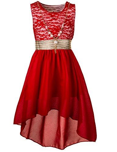 Kinder Sommer Fest Kleid für Mädchen Sommerkleid Festkleid mit Kette in vielen Farben M288rt Rot...