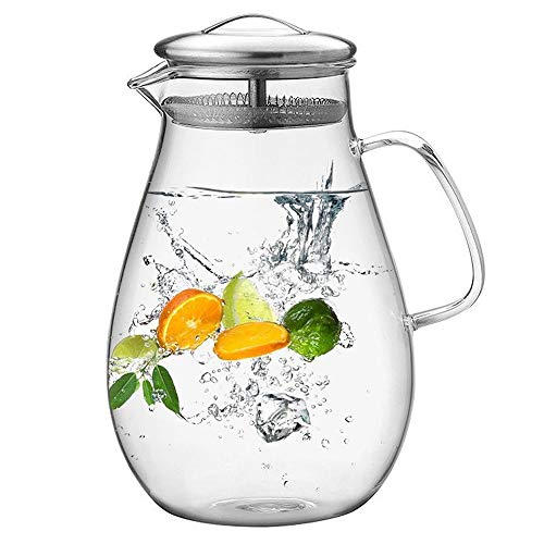 E-CHENG 64 Ounces Glass Pitcher with Stainless Steel Lid, Water Carafe with Handle, Good Beverage Pitcher for Homemade Juice and Iced Tea (64 OZ) Iced Carafe
