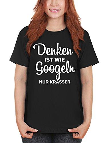 clothinx Damen T-Shirt Denken ist wie googeln nur krasser Schwarz