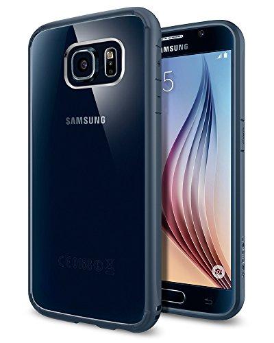spigen Funda Galaxy S6, Carcasa [Ultra Hybrid] Tecnología de amortiguación de Aire y protección híbrida contra caídas para Samsung Galaxy S6, Pizarra de Metal