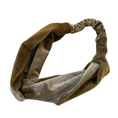 mchoice Frauen Samt Kreuz Twist Haarband Turban Stirnband elastisch Haarband Kopfband Bandage Size: Free size khaki -