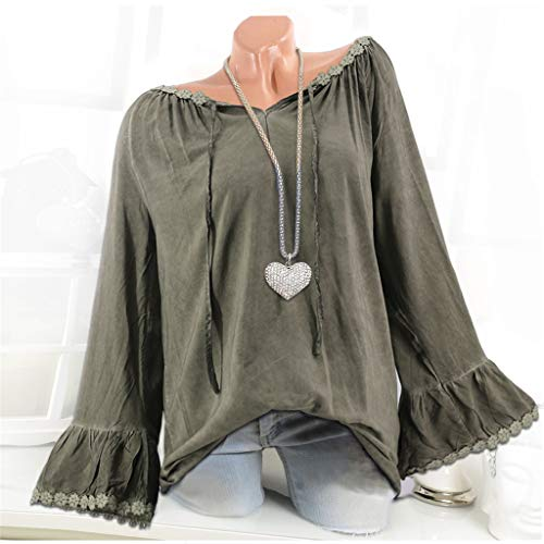 JYJM Chemisier Tunique Longue Femme Grande Taille Chic Manche Longues Hiver Casual Mode Classique Haut Tops Blouse Tee Shirt(armée Verte,3XL)