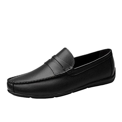 Sk studio mocassini da uomo pelle scarpe da barca eleganti casuale loafers slip on nero scarpe di guida nero