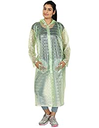 REXBURG Stylish Monsoon Long Women's Rain Coat, Absolute Comfortable and Made with 100% Water Proof Material. (Green - L)- Chest - 48, L-50.