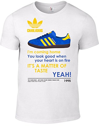 THE CHARLATANS Taste CD Lyrics T Shirt & Image Of Adidas Stockholm Trainers - White