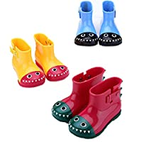 wall-8-CC Cute PVC Dinosaur Rain Coat Shoes Children Cartoon Water Shoe Baby Boots Non-Slip Waterproof Boy Girls Student Shoes Boot