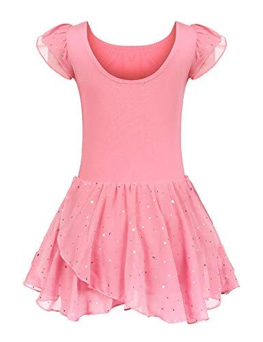 Kinder Ballettkleidung Ballettkleid Mädchen Kurzarm Baumwolle Balletttrikot Ballettanzug Tanzkleid Tanzbody mit Rock Tütü