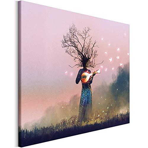 Revolio - Bilder - Leinwandbild - Wandbilder - Kunstdruck - Design - Leinwandbilder auf Keilrahmen 1 Teilig - Wanddekoration - Größe: 50x40 cm - Baum Ukulele pink