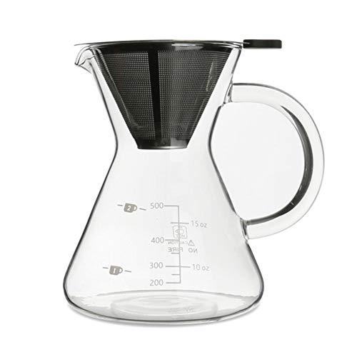 Kaffeebereiter Pour Over Kaffeezubereiter, Kaffeekanne mit Dauerfilter aus Edelstahl und Karaffe,...