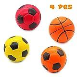 TONZE Balle Mousse Ballon Foot Mousse Jeux Basketball Jeu de Plein Air et Jeux Interieur pour 3 4 5 Garçons Filles Peitits Ballons 4Pièces Balle pour Chien et Chat
