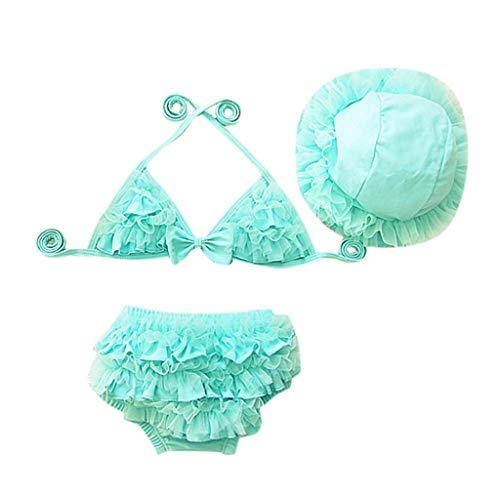 EUCoo_ Wetsuit Kinder Badeanzüge Kleine Mädchen Bikini Bademode Rüschen Sling Badeanzug + Spitzenhose + Sonnenschutzhut Badeanzug dreiteilig(Blau, XS)