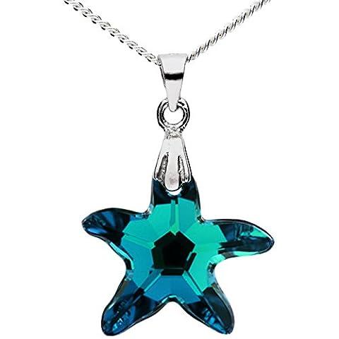 MYA art Kette Halskette 925 Sterling Silber mit Seestern Stern Anhänger Swarovski Elements Kristall Blau Damen Kinder Geschenke MYASIKET-49
