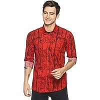 LEVIZO Men's 100% Cotton Designer Printed Full Sleeves Regular Fit Shirt for Men Red Size L