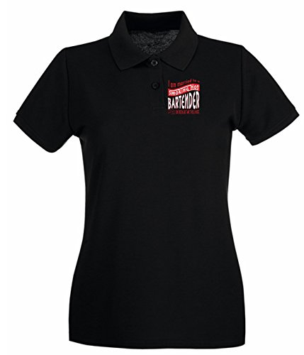 Cotton Island - Polo pour femme BEER0229 I am married to a smoking hot Bartender Noir