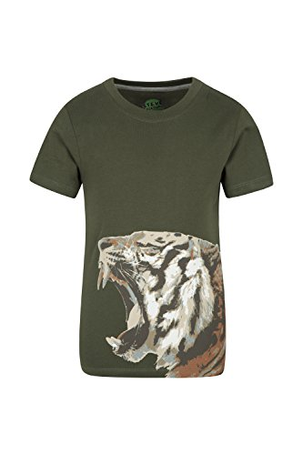 Mountain Warehouse Steve Backshall Tiger Roar Kids Tee - 100% Cotton Top, Lightweight, Breathable Summer Tshirt, Easy Care, Great Quality -for Walking, Camping & Picnics