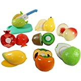 Toyshine Realistic Sliceable 10 Pcs Fruits Cutting Play Toy Set, Can Be Cut In 2 Parts