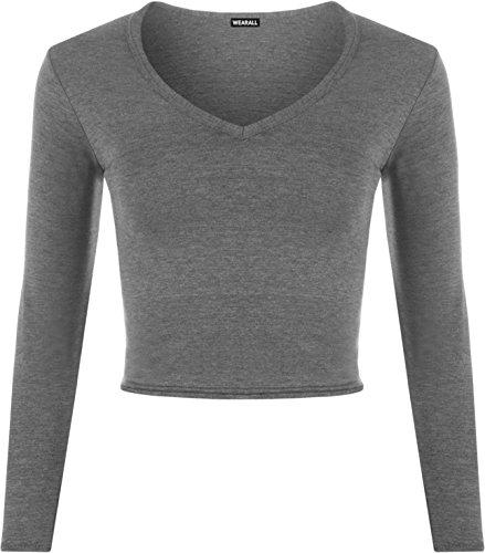 WEARALL Damen Weich Strecke Kurz Ebene V Hals Lang Hülle T-Shirt Damen Ernte Top - Dunkelgrau - 36-38 (V-hals Grau T-shirt Damen)