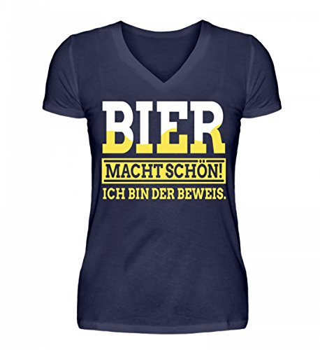 Shirtee Bier Macht schön ich Bin der Beweis - V-Neck Damenshirt -XXL-Dunkel-Blau - Bier Bin