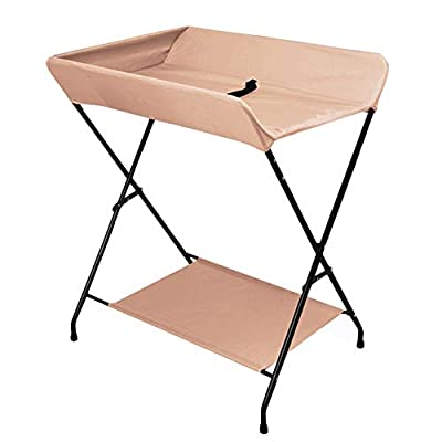Baby Changing Table Folding Diaper Station for Small Spaces, Portable Nursery Infant Massage Station Dresser for Home and Travel (Color : Khaki)