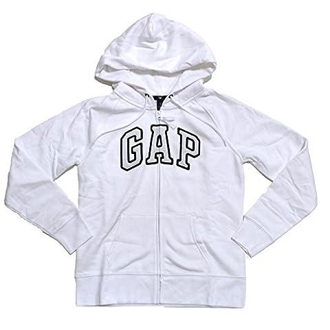 GAP Womens Fleece Arch Logo Full Zip Hoodie (XL, White)