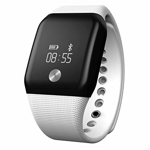 OOLIFENG Fitness Armband Smart Wristband Herzfrequenz-Messgerät mit Blut-Sauerstoff Blutdruck Monitor für IOS Android , white